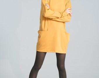 Oversize Long Tunic /  Tunic Dress / Black Dress Tunic / Long Sleeve Sweater / Casual Tunic / marcellamoda - MB142