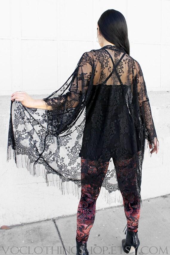 SHEER BLACK LACE tulle net fringe kimono robe