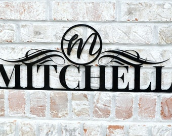 Personalized Metal Cutout Family Name Sign for Outdoor Use