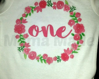 Girl's Birthday Shirt, Flower Birthday Shirt, Pink Birthday Shirt, One Birthday Shirt, 1st Birthday Shirt, Two Birthday Shirt, Pink Floral