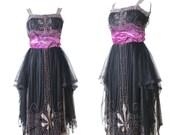 Edwardian 1920s Dress, Antique Beaded Dress, Silk Tulle and Velvet Evening Dress, Art Deco Dress