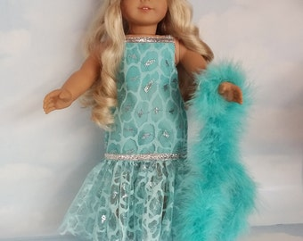 18 inch doll clothes - #282 Aqua Lace Dropwaist Gown handmade to fit the American Girl Doll