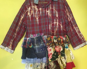 Red plaid upcycled flannel shirt jacket with ruffles fits XL 1x