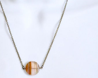 Clear Agate Necklace, Brown Gemstone Necklace, Natural Stone Pendant Necklace, Antique Brass Chain, Circle Disc Necklace, Minimalist Jewelry