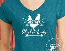 Crazy Chicken Lady  Ladies' Triblend V-Neck T-Shirt - Homesteader, chicken collector, backyard farmer, women's v-neck
