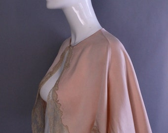 1930s LINGERIE CAPE silk lace pale pink boudoir pin up TOP vintage old hollywood