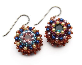 Mismatched earrings - Swarovski crystal earrings - copper earrings - pearl earrings - seed bead earrings - bead woven earrings - beadwork
