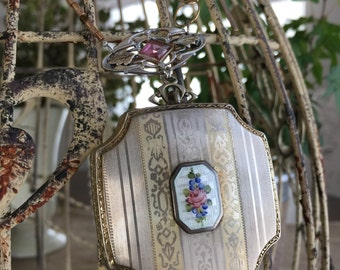 SOLD to Jan - vanity - vintage enamel guilloche compact victorian brooch watch chain glass beads by the french circus