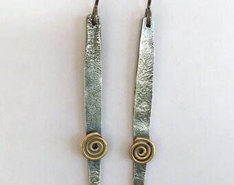 Silver Brass Spike Spiral Long Earrings