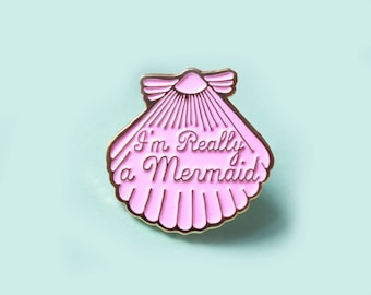 Enamel pin, Pink mermaid pin, Gifts for her, mermaid gift, teen girl gift, enamel pins, lapel pin, mermaid jewelry, statement jewelry