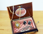 Lovely Little Locking Wooden Dresser Box with Original Key - Hand Painted - Great For - Jewelry - Trinkets - Coins - Made in Italy