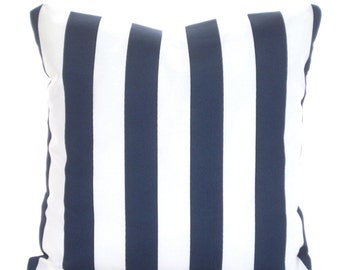 OUTDOOR Nautical Stripe Pillow Cover, Navy Blue Stripe Cushion, Decorative Pillows Cushions Navy Blue White Stripe, One or More ALL SIZES