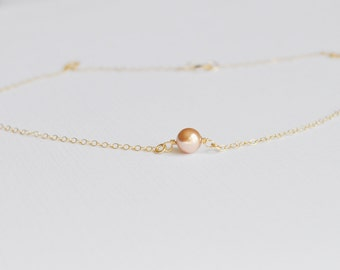 Single Pink Pearl Necklace - tiny round pearl solitaire gold filled chain rose gold swarovski simple dainty wedding jewelry handmade gift