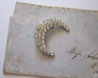 vintage rhinestone MOON brooch - crescent moon brooch - clear stones