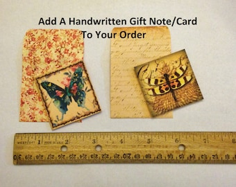 Add A Handwritten Gift Note/Note Card with a Personal Message to Any Order; Include Personalized Note Add On; Collage Notecard; AmySueCrafts
