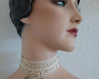 Antique Beaded Choker Collar / Vintage Ecru Ribbon Drawnwork and Metal Bead Collar Necklace / Antique Wedding Lace & Beaded Ribbon Choker