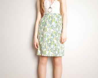 Vintage Geometric Graphic Gem Print Mod Skirt 1960s Medium Large M L