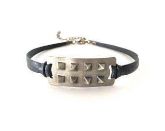 black choker with spikes   leather choker   black collar   choker necklace   spike choker   punk rock jewelry   leather collar   goth choker