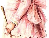 Victorian Girl in Pink Book Mark Supplies, Downloadable, Printable, Digital Art Image Instant Download Make Your Own Bookmarks