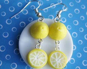 Lemon Earrings -  Dangle Earrings - Front and Back - Drop Earrings Yellow - Handmade with Polymer Clay Cute - Citrus Fruit Jewellery
