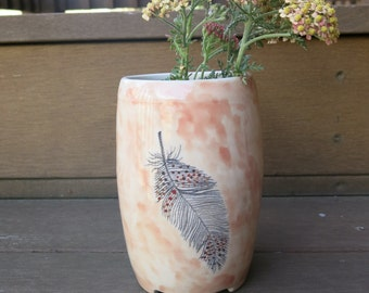 Ceramic Art Vase Woodland Bird Feather Pink and Grey One of a Kind Gift Idea Home Decor, Handmade Artisan Pottery by Licia Lucas Pfadt