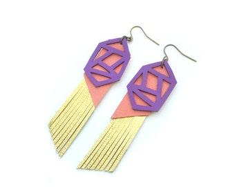 Geometric Earrings, Gold Fringe Leather Earrings, Purple Earrings, Metallic Earrings, Long Statement Earrings, Geometric Jewelry