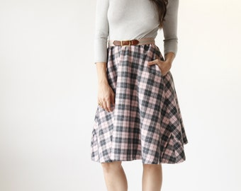 Pink and Silver Plaid Circle Skirt Dress with Pockets - Eco Friendly Womens Apparel by Tammy Jo Fashion