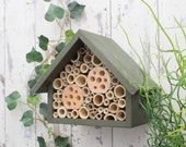Bee Hotel, Mason Bee House, Large, in 'Old English Green'. Can be personalised.