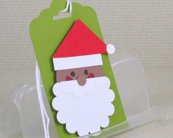 Christmas Gift Tags Handmade Santa Tags African American Santa Claus Ornaments Your Choice of One Three or Eight Tags Black Santa Tags