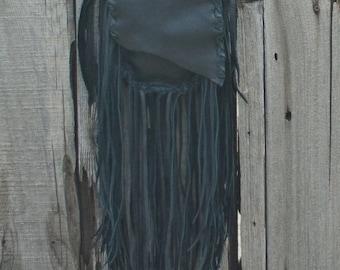 Black fringed leather crossbody bag , Hobo handbag , Boho bag , Leather handbag , Black leather
