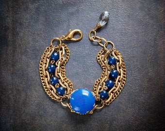 Cornflower Blue Lucite Assemblage Bracelet with Vintage Gold Chains and Royal Blue Agate Beads