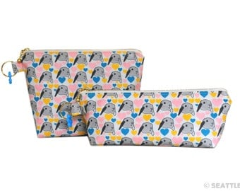 Orange Apollo's Flat Bottom Zipper Pouch + Pen / Pencil Pouch Set for Bunny Lovers (Bunny Love) GREAT DEAL!