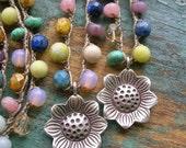 Colorful boho jewelry, Spring necklace - Secret Garden - crochet necklace, silver sunflower pendant, gemstones, bohemian, botanical, flower