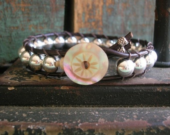 ON SALE Silver leather bracelet - Elemental - sterling silver jewelry, antique button, Bohemian boho chic jewelry everyday layering bracelet