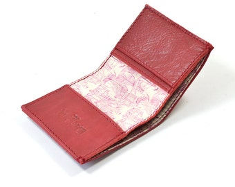 Handmade Cherry Red Leather Bifold Card Wallet Liberty Of London Lining