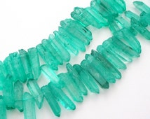 Druzy Spikes - Crystal Quartz Points Beads - Seafoam Green - Pointy Tips - Semiprecious Drilled Stone - 10 Pcs  For Jewelry Making