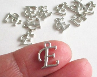 Initial Letter E - Silver Capital Letter E - Alphabet Initial Pendant - Jewelry findings - 8 PCS - Personalized Jewelry - Add On Initial Tag