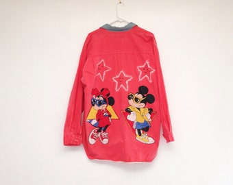 Insane Vintage 1990s Mens Mickey and Minnie Hand Decorated Red Denim Shirt