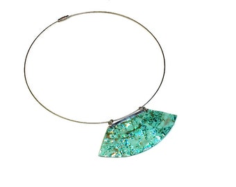 Modern Iridescent Turquoise Statement Necklace, Recycled CD Art Jewelry, Eco Friendly