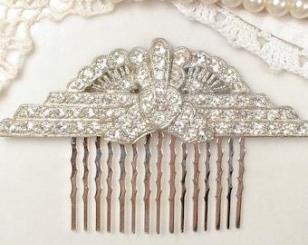 Antique Art Deco Bridal Hair Comb Crystal Rhinestone Fan Downton 1920 Hairpiece Flapper Vintage Wedding Accessory Gatsby Headpiece Edwardian