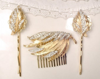 OOAK SeT Autumn/Fall Wedding Bridal Hair Comb & Pins, Vintage Gold Leaf Rhinestone Headpiece Mother Bride Groom Gift Bridal Hairpiece Clips