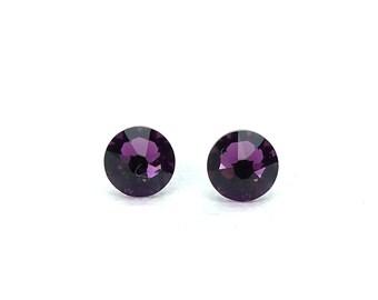 Titanium Stud Earrings Amethyst Purple Swarovski Crystal Studs on Titanium Posts for Sensitive Earlobes, Hypoallergenic Nickel Free Earings