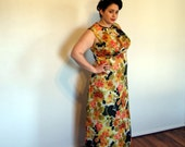 Vintage Plus Size Maxi Dress 1970s Floral Orange Green and Black Empire Waist Floor Length Dress extra large XL XXL size 18 size 20