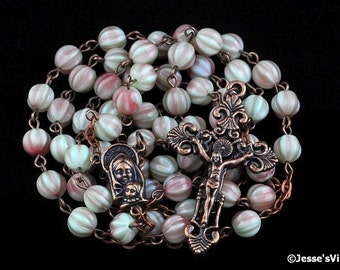 Catholic Rosary Pistachio Raspberry Fluted Melon Beads Antique Copper Traditional Rustic Opaque Czech Glass Rosary Beads