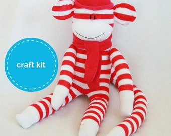 Stuffed toys, Sock Monkey Craft  Kit - Hot Pink and White Stripes, Toy Pattern