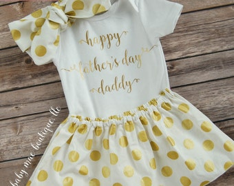 Fathers Day Onesie; Happy Fathers Day; Baby Girl Fathers Day Dress; My First Fathers Day Onesie with Skirt