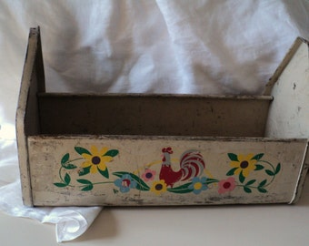 Shabby Chic Gardening Tools Container Planter with Rooster, Flowers
