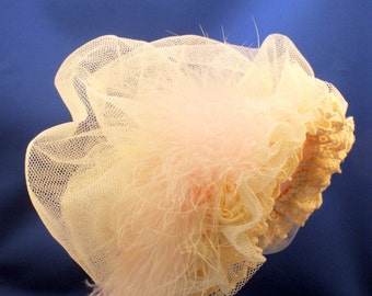 Baby Girl Hat Feather Trim Easter Bonnet Wedding Fancy Bonnet Pink Satin Lined