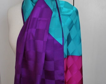 Vintage 80s Women's Anne Klein Magenta Fuchsia Purple Aqua Blue Checkerboard Colorblock Modern Art Silk Rectangle Summer Neck Scarf