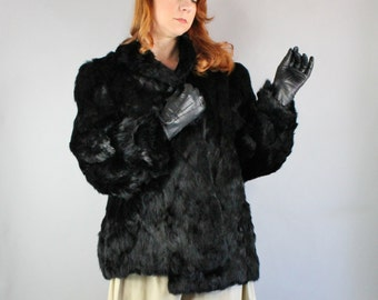 Vintage 1980s 80s Women's Dark Midnight Black Boho Groupie Rock n Roll Fall Winter New Years Eve Rabbit Fur Coat